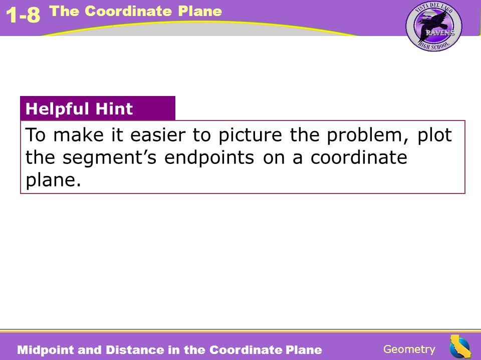 To make it easier to picture the problem, plot the segment's endpoints on a coordinate plane.