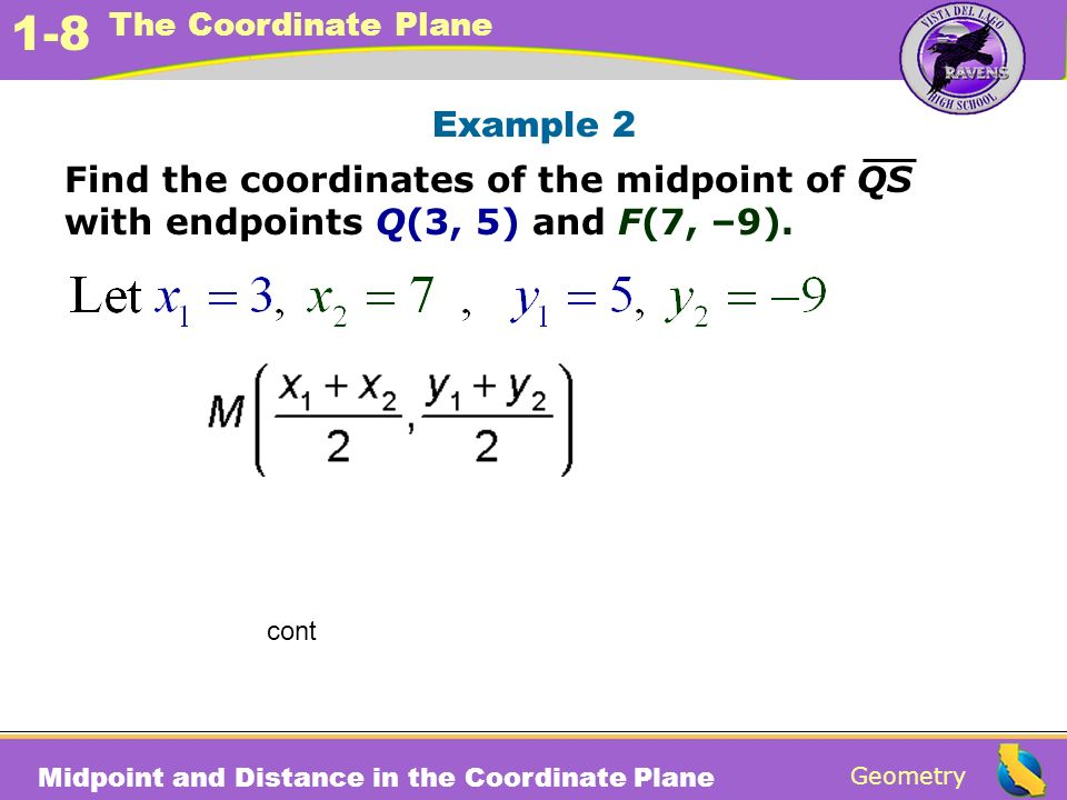 Example 2 Find the coordinates of the midpoint of QS with endpoints Q(3, 5) and F(7, –9). cont