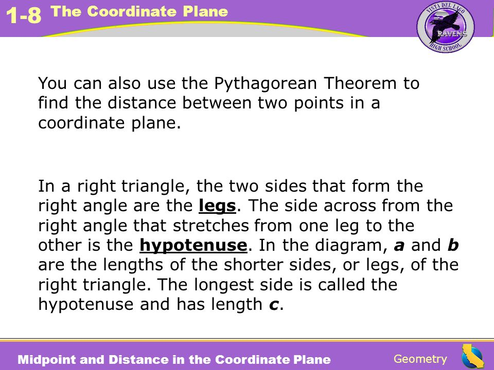 You can also use the Pythagorean Theorem to find the distance between two points in a coordinate plane.