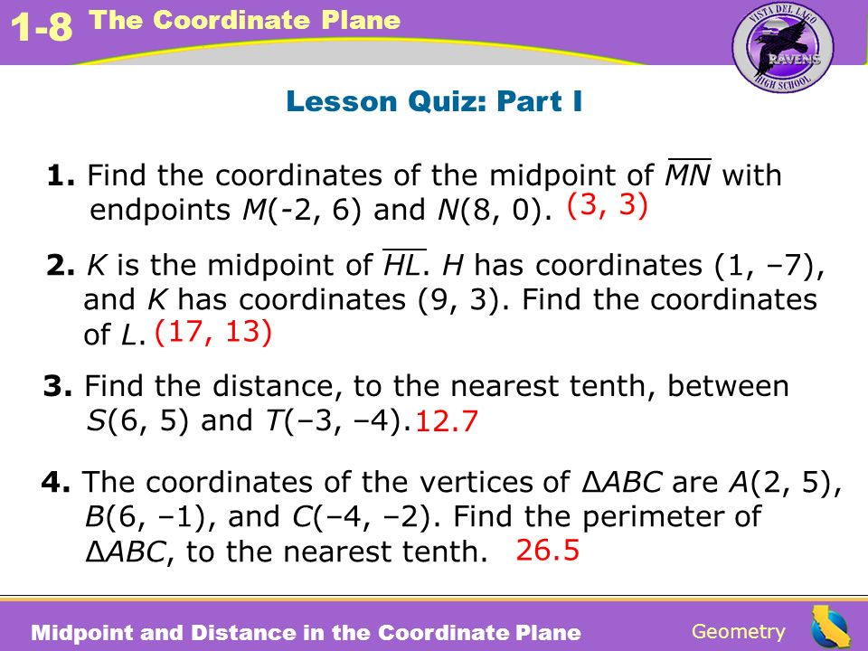 Lesson Quiz: Part I 1. Find the coordinates of the midpoint of MN with endpoints M(-2, 6) and N(8, 0).