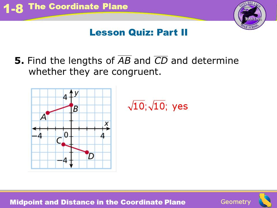 Lesson Quiz: Part II 5. Find the lengths of AB and CD and determine whether they are congruent.