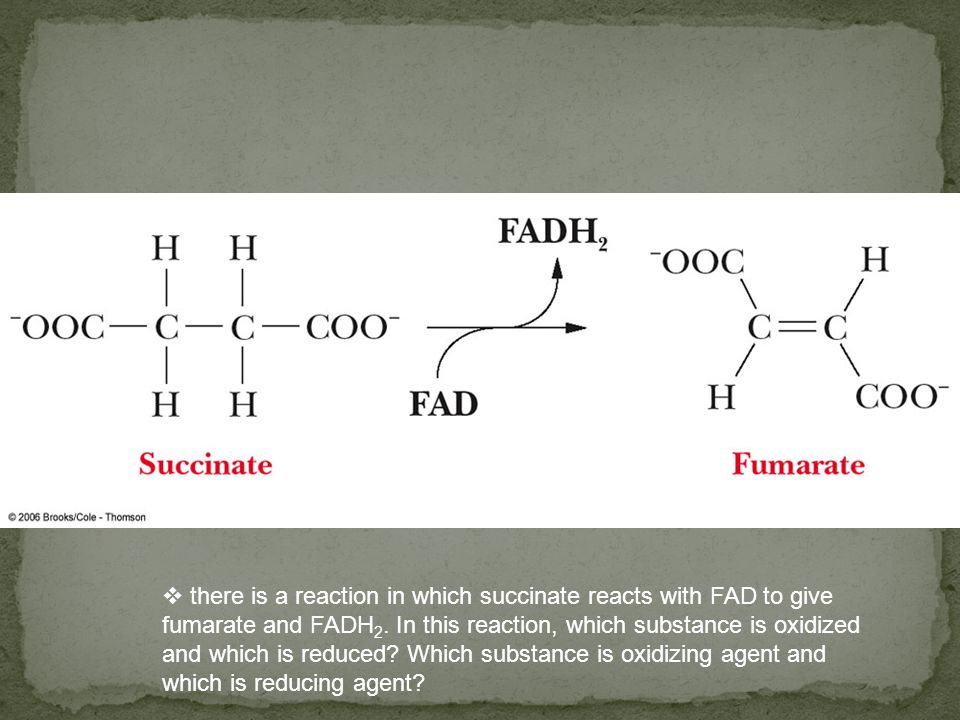 there is a reaction in which succinate reacts with FAD to give fumarate and FADH2.