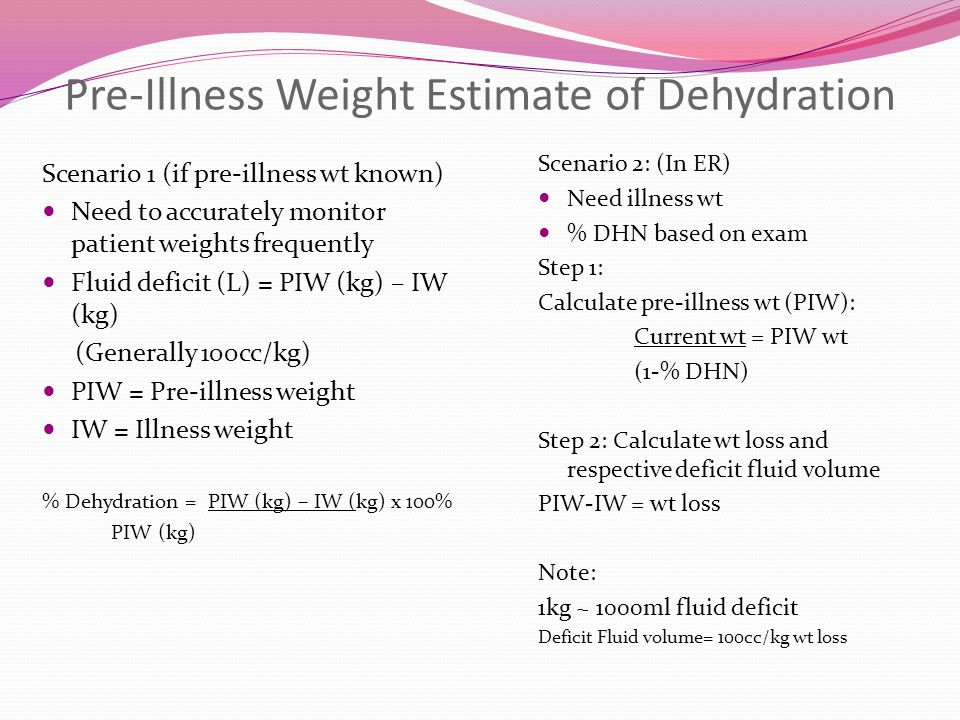 Pre-Illness Weight Estimate of Dehydration