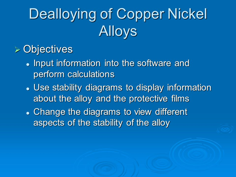 Dealloying of Copper Nickel Alloys