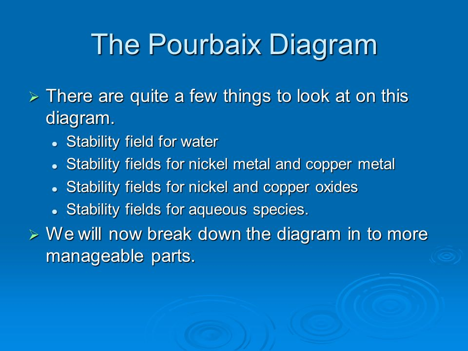 The Pourbaix Diagram There are quite a few things to look at on this diagram. Stability field for water.