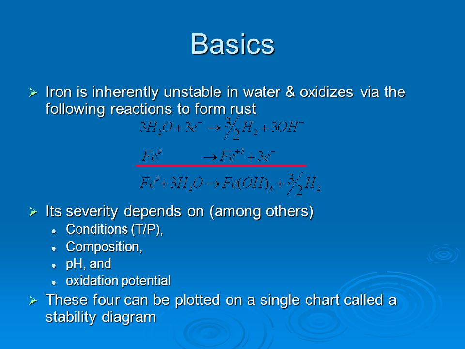 Basics Iron is inherently unstable in water & oxidizes via the following reactions to form rust. Its severity depends on (among others)