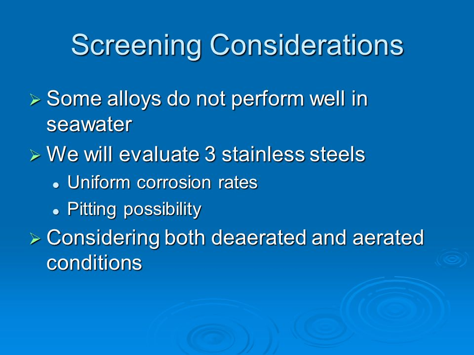 Screening Considerations