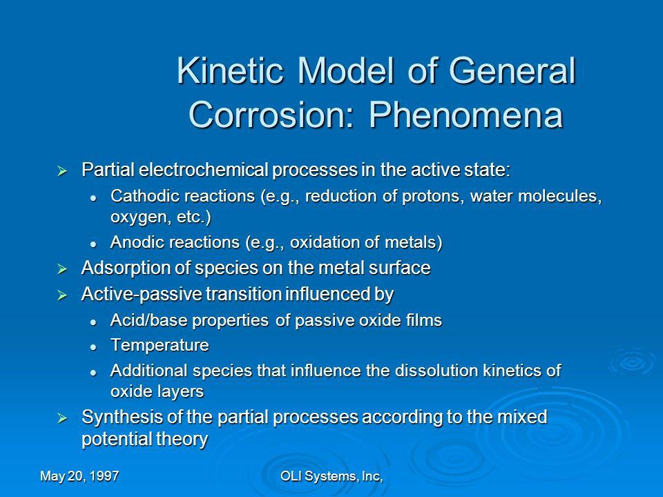 Kinetic Model of General Corrosion: Phenomena
