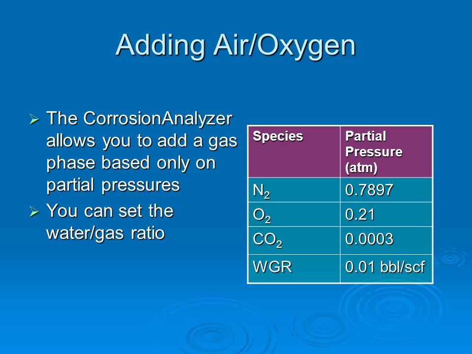 Adding Air/OxygenThe CorrosionAnalyzer allows you to add a gas phase based only on partial pressures.