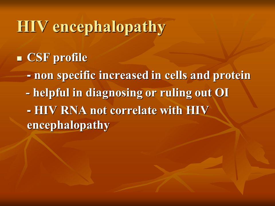 HIV encephalopathy CSF profile
