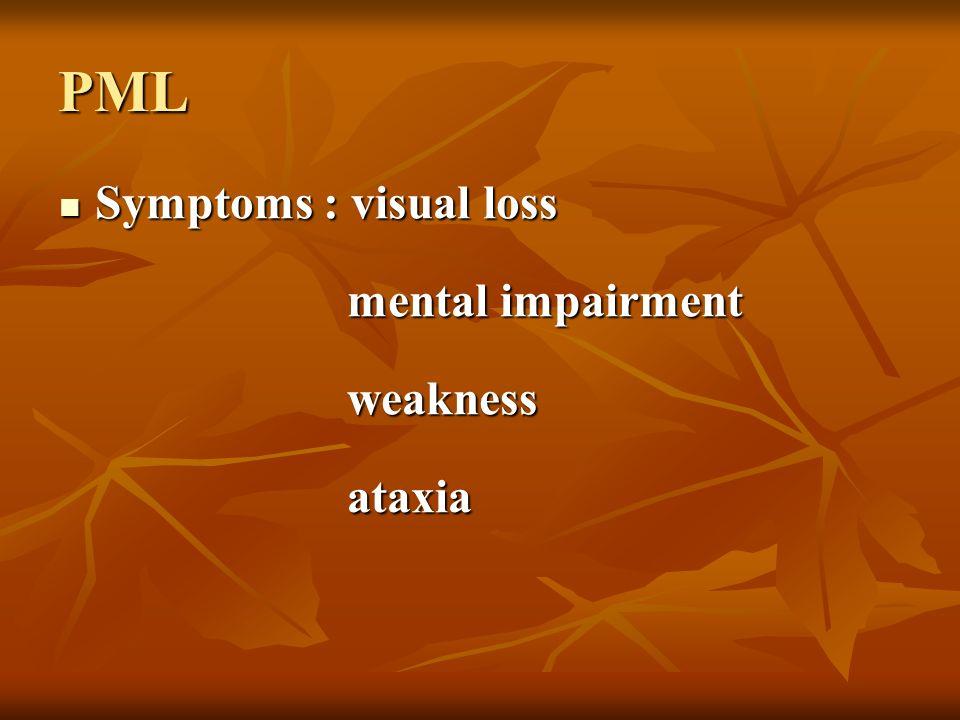 PML Symptoms : visual loss mental impairment weakness ataxia