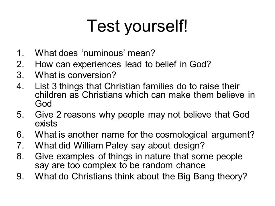 Test yourself! What does 'numinous' mean
