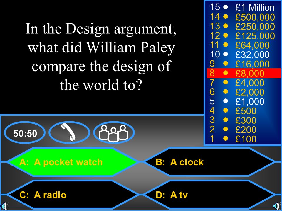 15 £1 Million. 14. £500,000. In the Design argument, what did William Paley compare the design of the world to