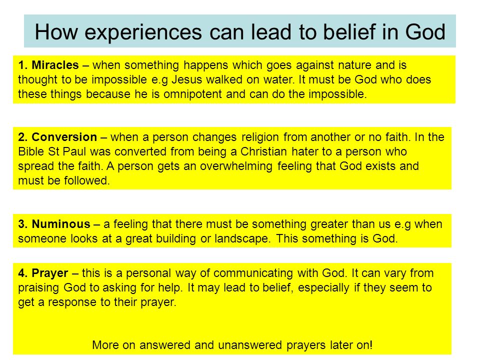How experiences can lead to belief in God