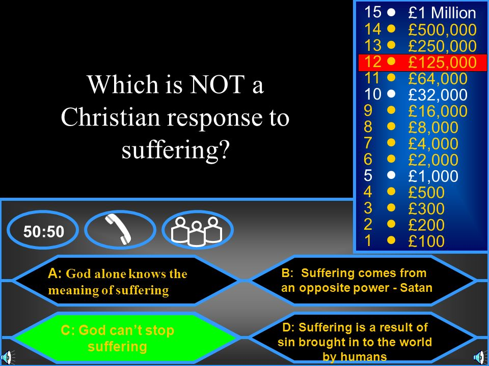 Which is NOT a Christian response to suffering