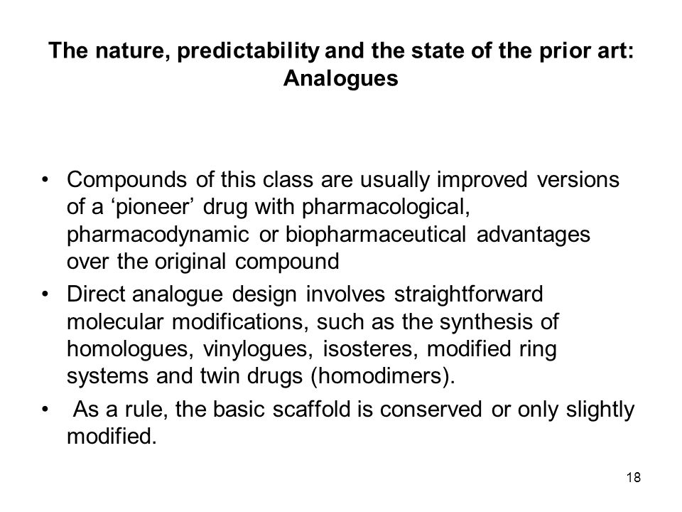 The nature, predictability and the state of the prior art: Analogues