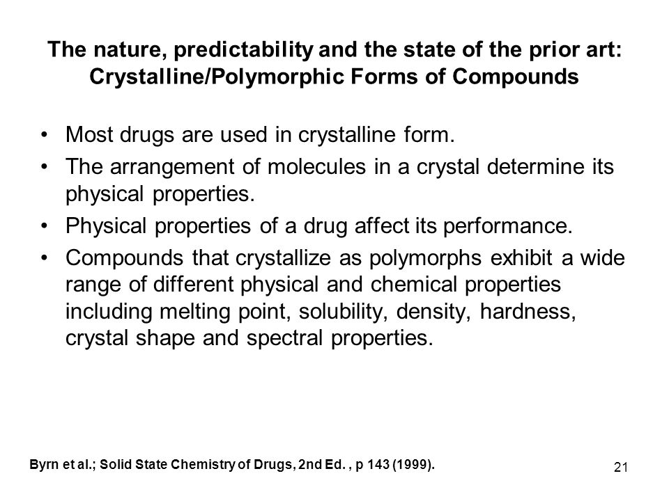 Most drugs are used in crystalline form.
