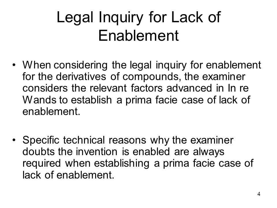 Legal Inquiry for Lack of Enablement