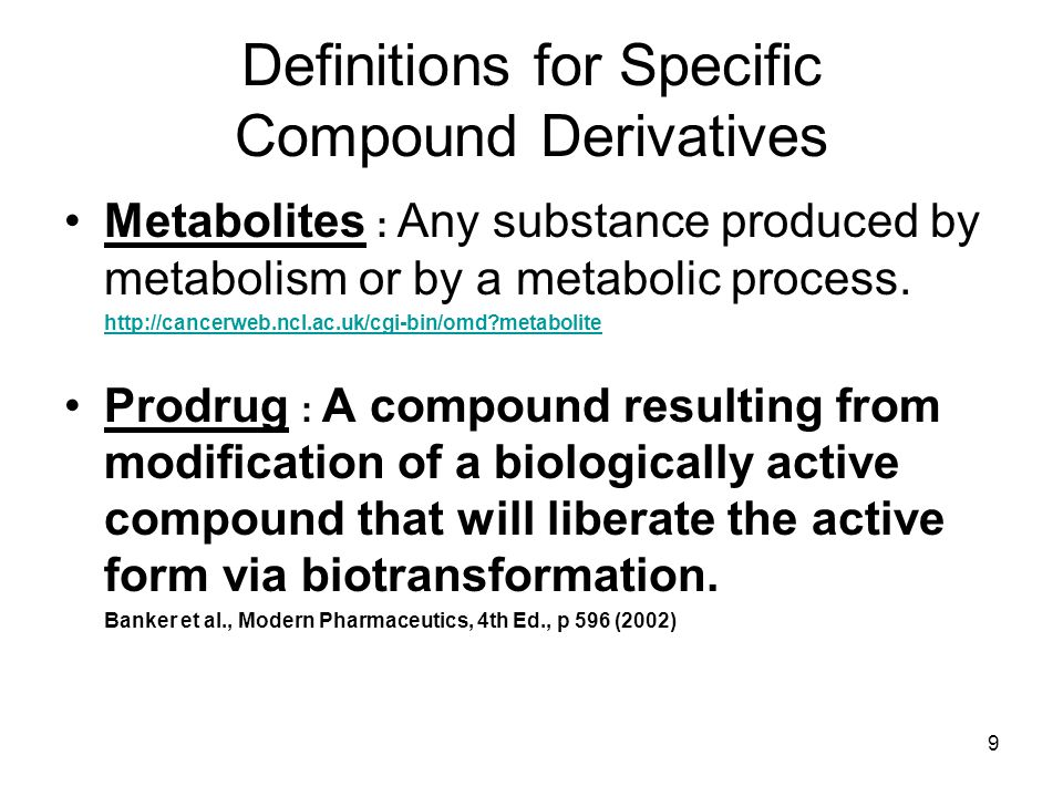 Definitions for Specific Compound Derivatives