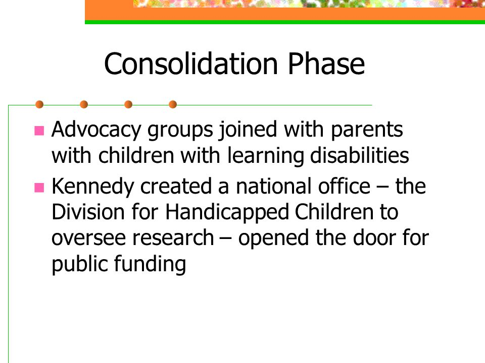 Consolidation Phase Advocacy groups joined with parents with children with learning disabilities.