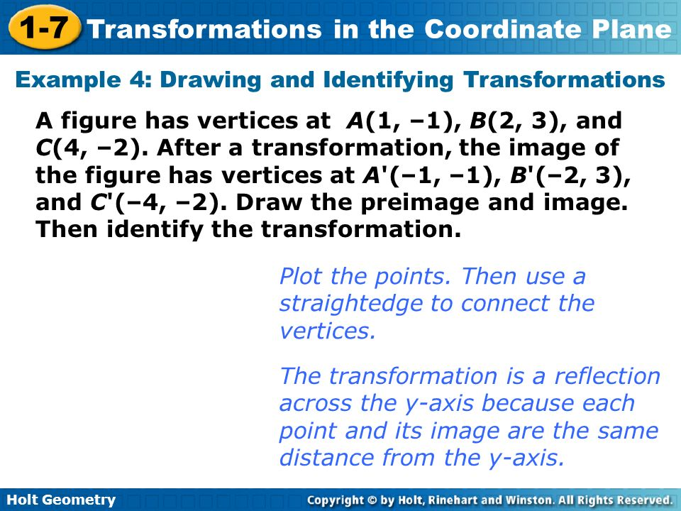 Example 4: Drawing and Identifying Transformations