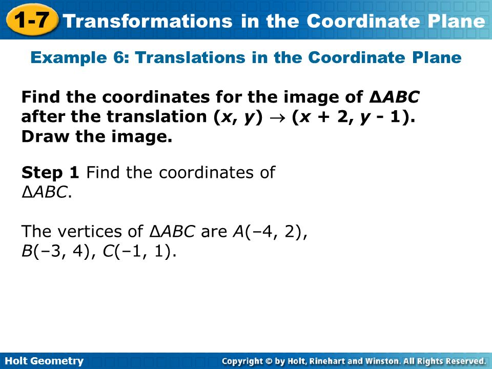 Example 6: Translations in the Coordinate Plane