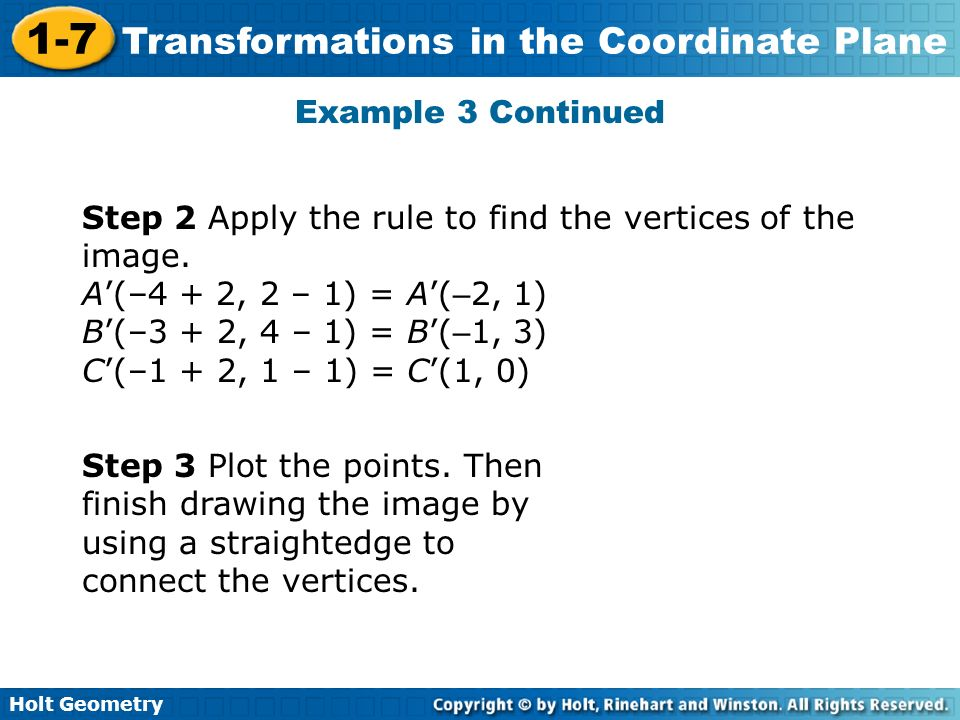 Example 3 ContinuedStep 2 Apply the rule to find the vertices of the image. A'(–4 + 2, 2 – 1) = A'(–2, 1)