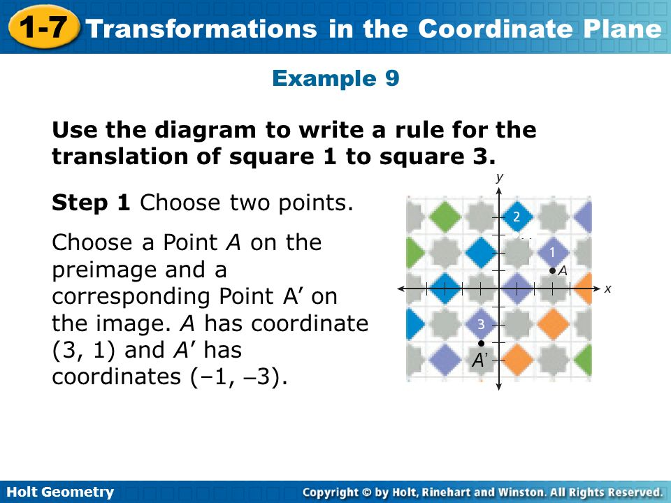 Example 9Use the diagram to write a rule for the translation of square 1 to square 3. A' Step 1 Choose two points.