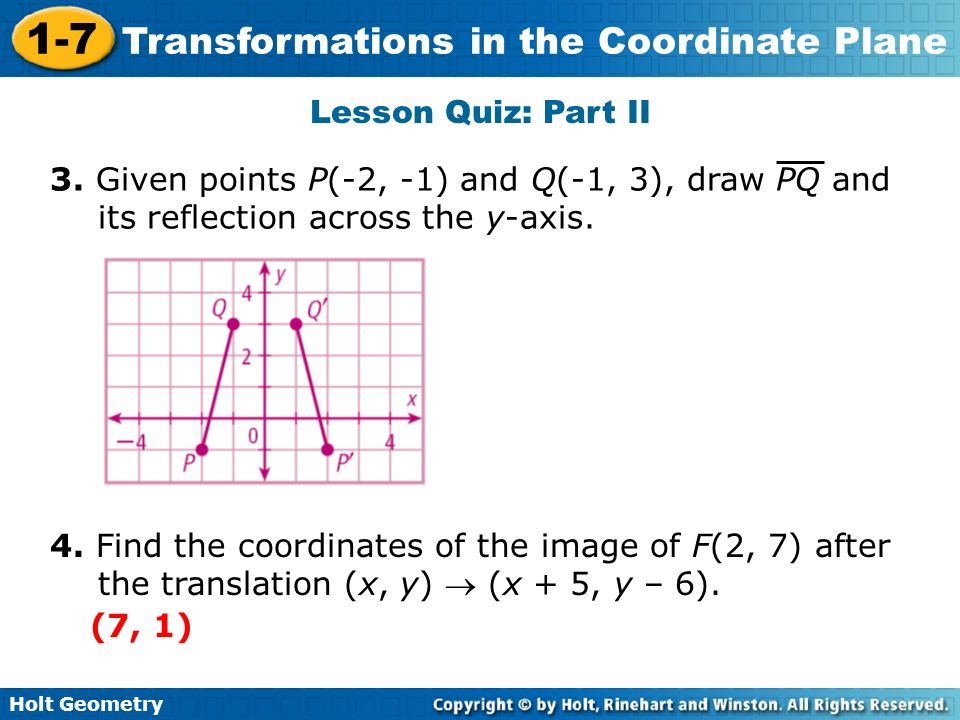 Lesson Quiz: Part II3. Given points P(-2, -1) and Q(-1, 3), draw PQ and its reflection across the y-axis.