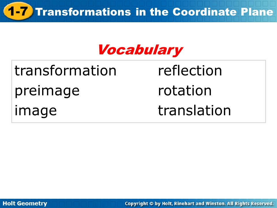 Vocabulary transformation reflection preimage rotation image translation