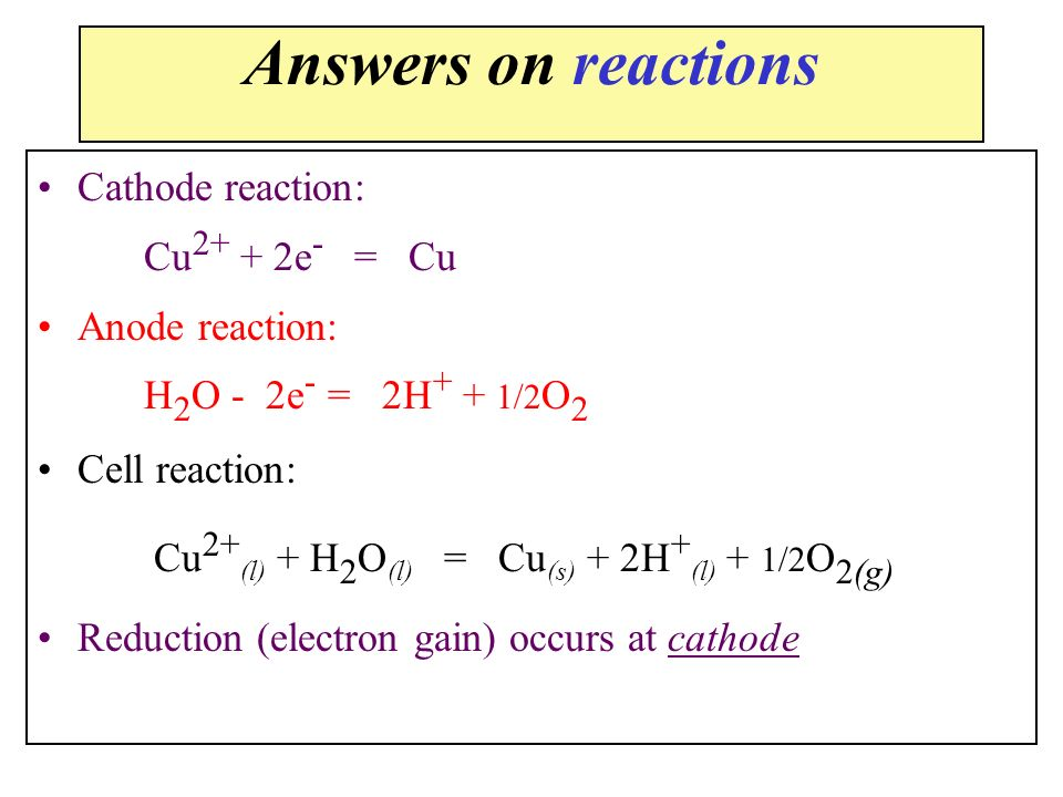 Answers on reactions Cathode reaction: Cu2+ + 2e- = Cu Anode reaction: