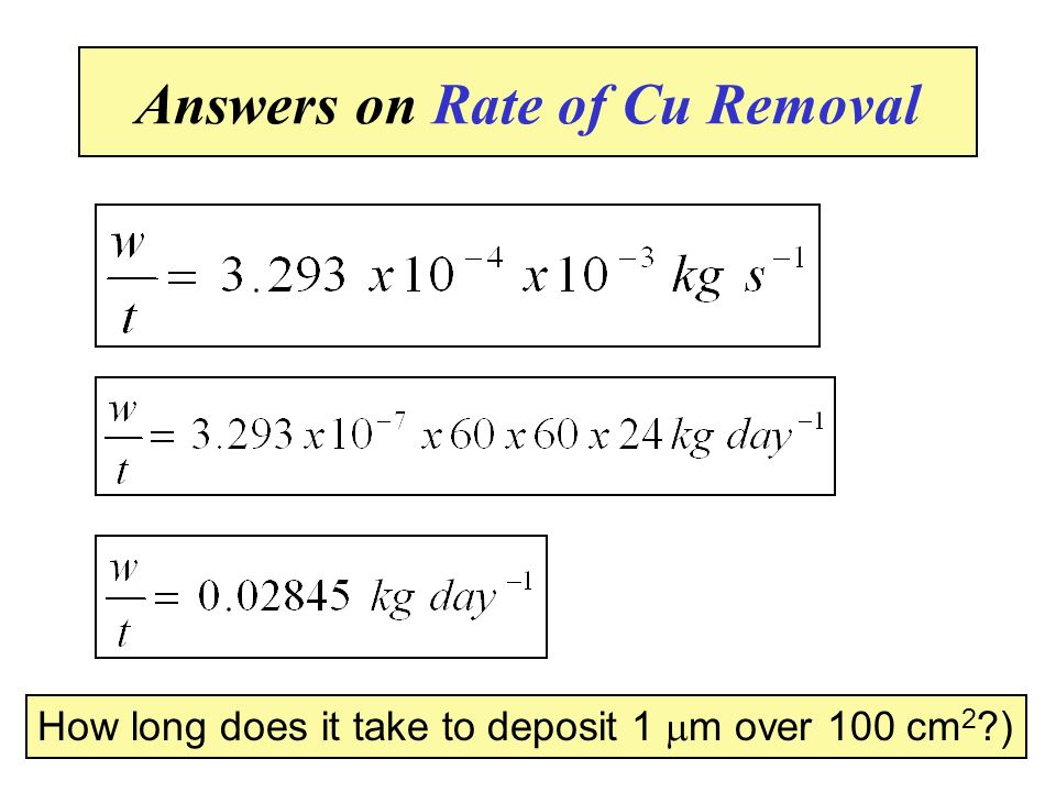Answers on Rate of Cu Removal