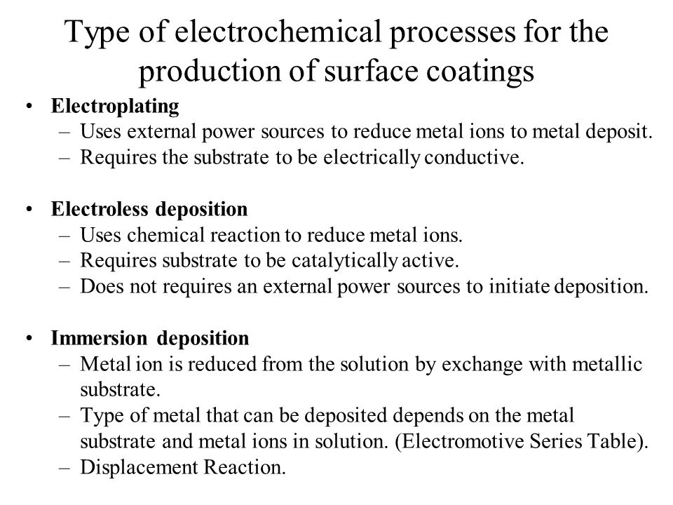 Type of electrochemical processes for the production of surface coatings