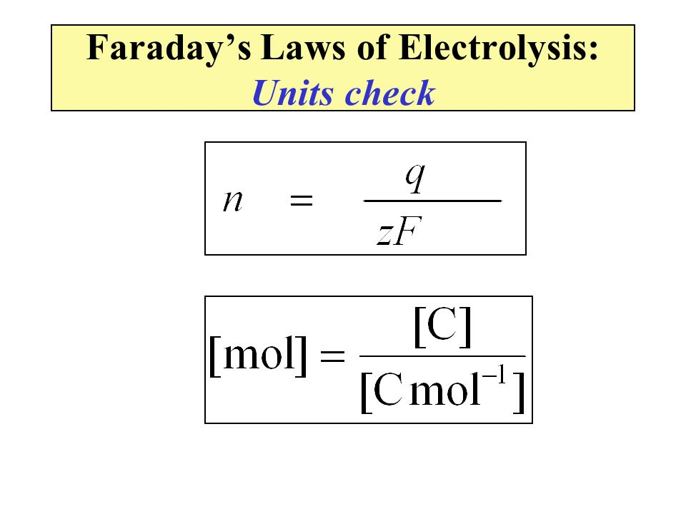Faraday's Laws of Electrolysis: Units check