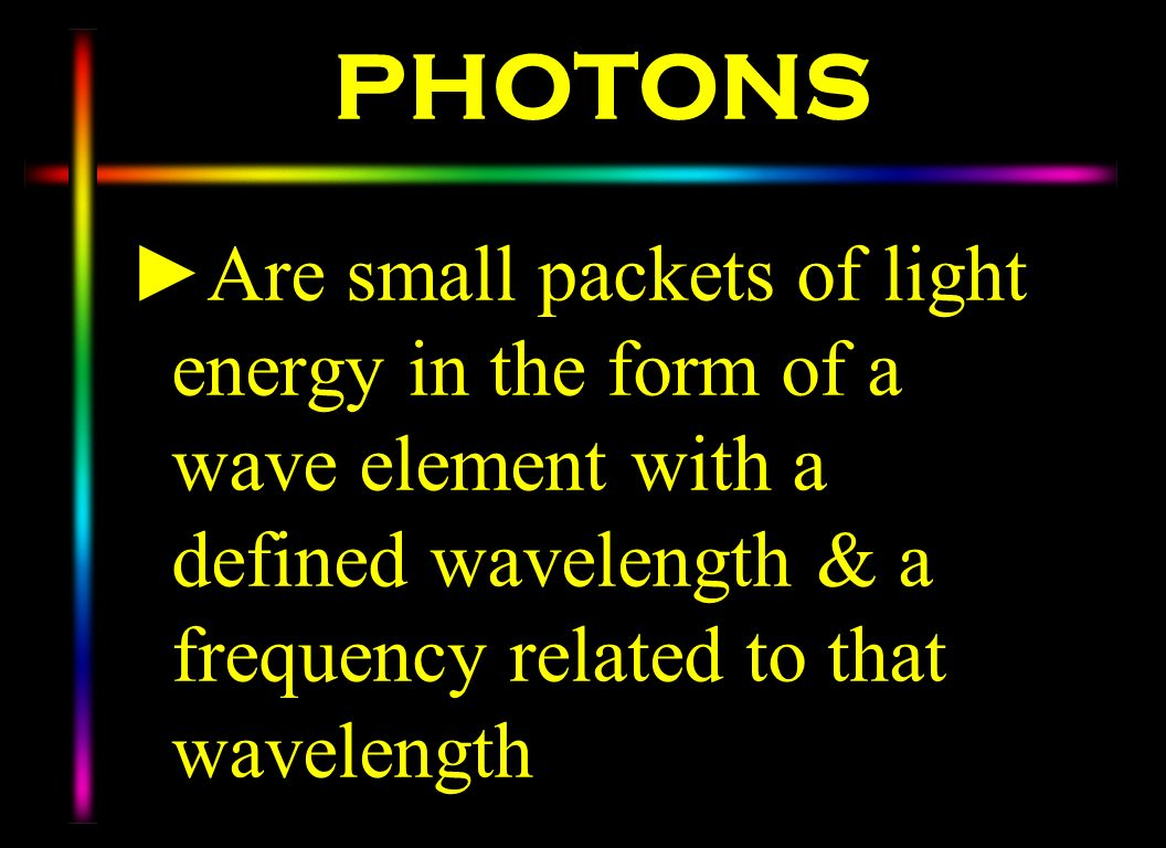 PHOTONSAre small packets of light energy in the form of a wave element with a defined wavelength & a frequency related to that wavelength.