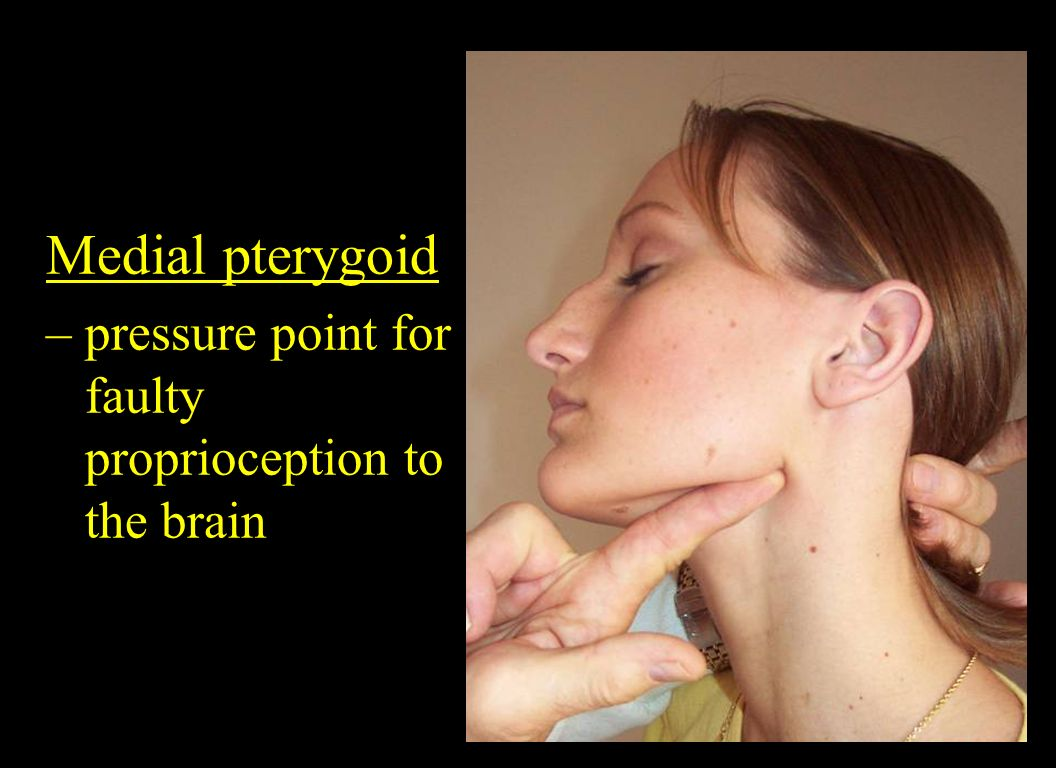 Medial pterygoid – pressure point for faulty proprioception to the brain.