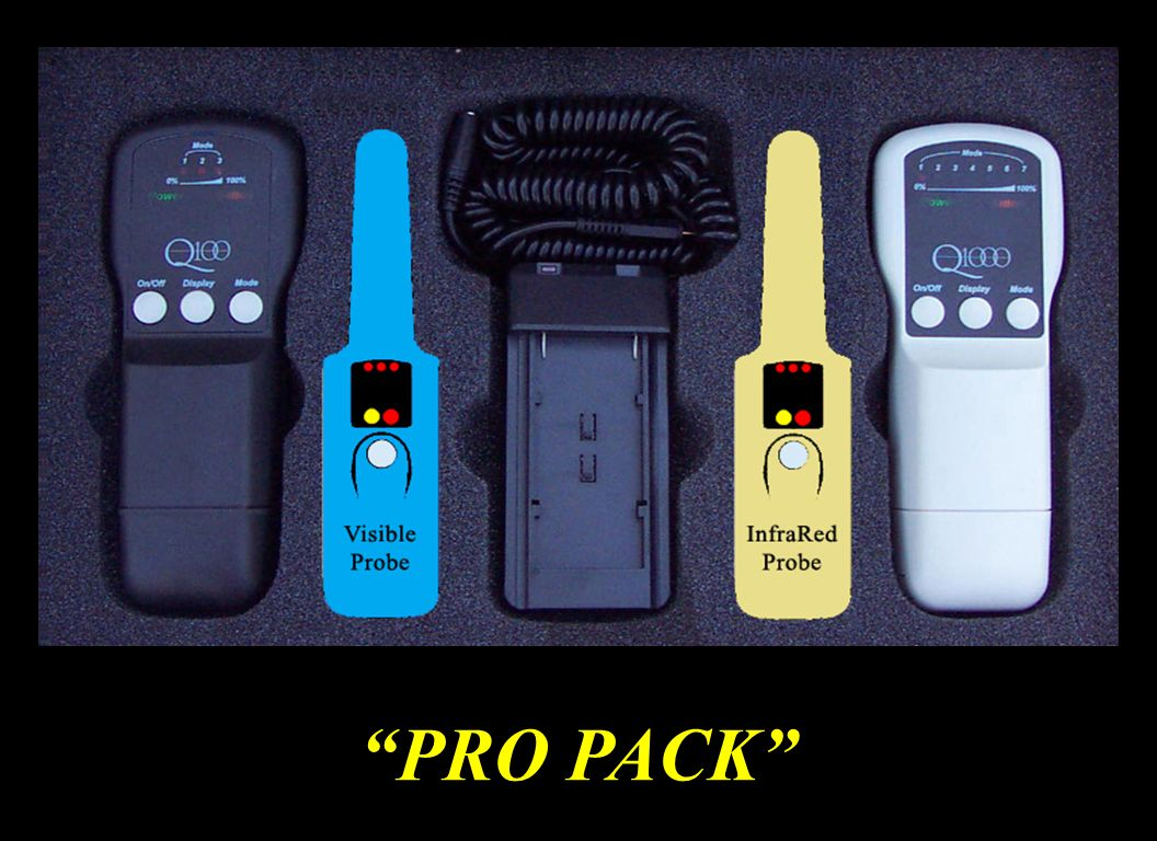 Knowing that one laser cannot do it all, the Pro Pack is designed for professional, however many laypeople are also enjoying it's multi-laser features. It includes the Q100 and the Q1000 as well as the 660 Visible Enhancer Probe and the 808 Infrared Enhancer Probe. The 660 Enhancer Probe is a great acupoint laser as well as it has over 24 intra oral uses. The 808