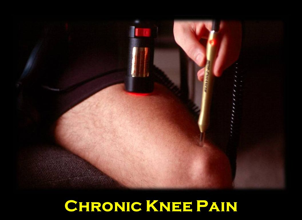 Laser the knee with the Infrared 808 Enhancer for one cycle or 3 minutes. If the pain is above the knee there and use the Q100 or Q1000 on Mode 1 on the muscles in the thigh.