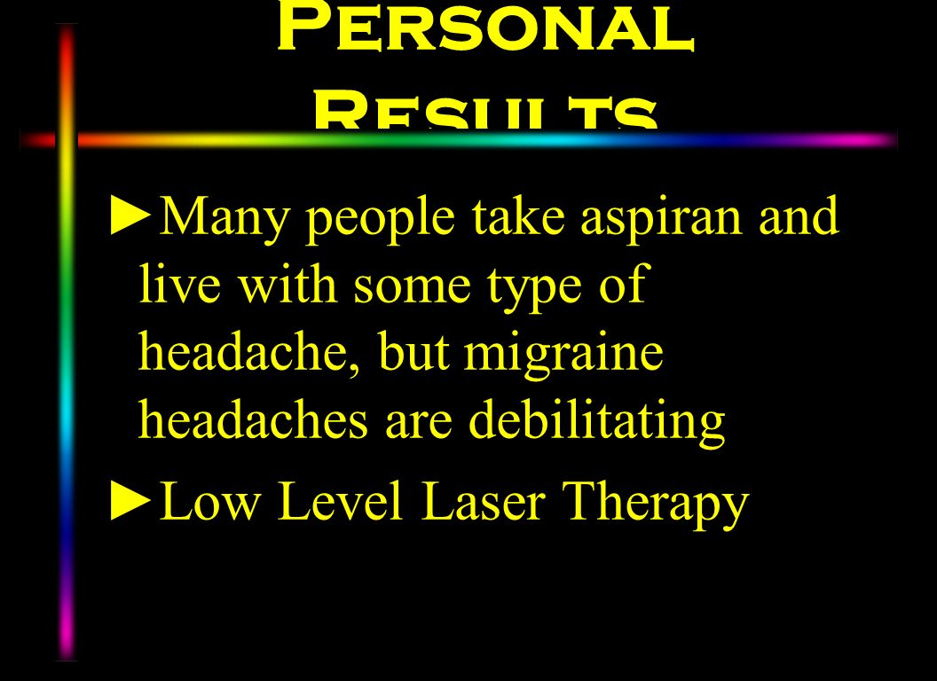 Personal Results Many people take aspiran and live with some type of headache, but migraine headaches are debilitating.
