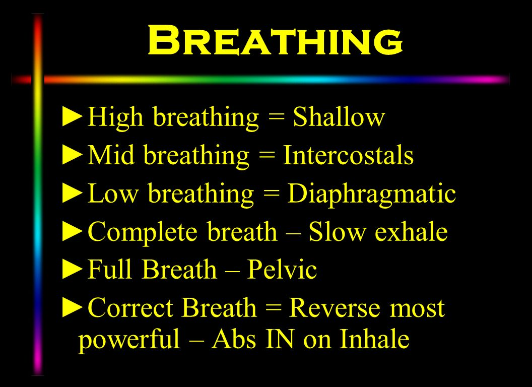 Breathing High breathing = Shallow Mid breathing = Intercostals