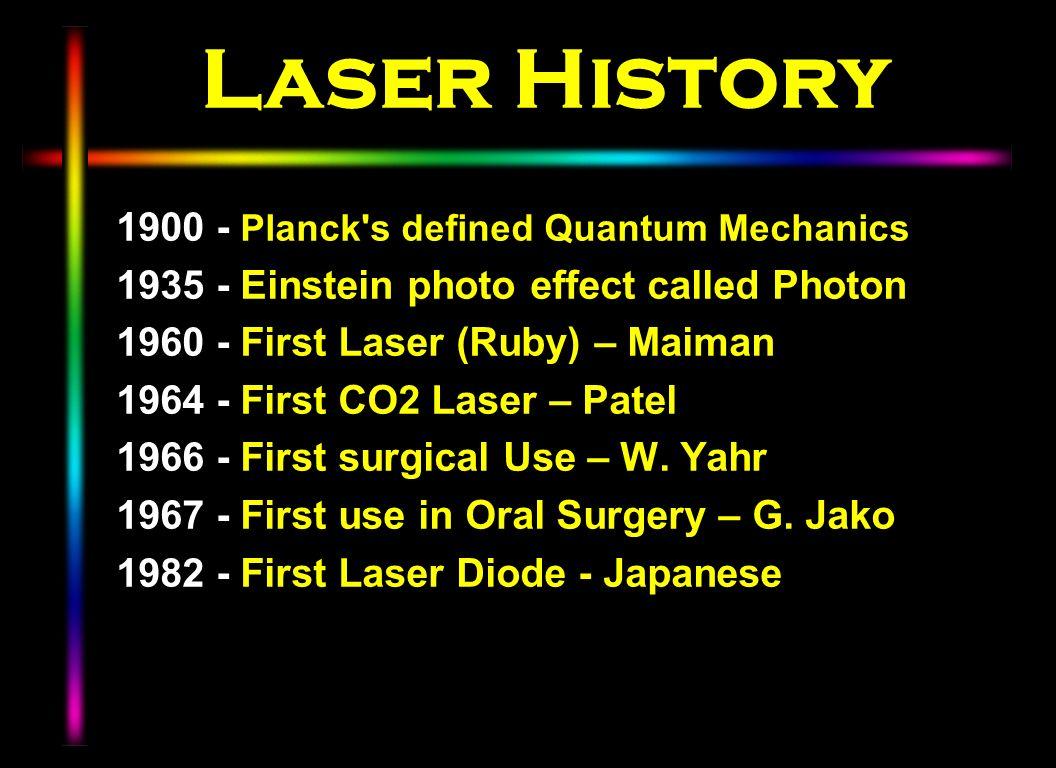 Laser History 1900 - Planck s defined Quantum Mechanics