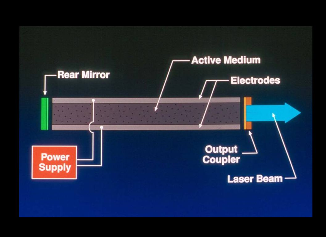 The first laser was a tube laser with a solid rear mirror and a coupler which was a mirror with 2 % holes.