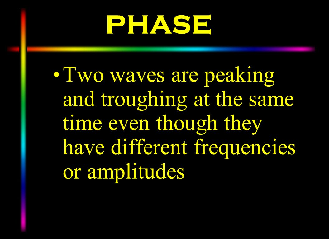PHASE Two waves are peaking and troughing at the same time even though they have different frequencies or amplitudes.