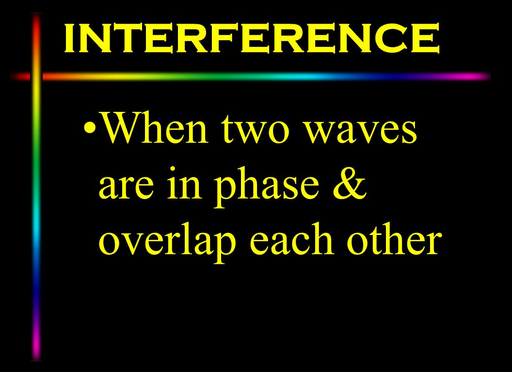 When two waves are in phase & overlap each other