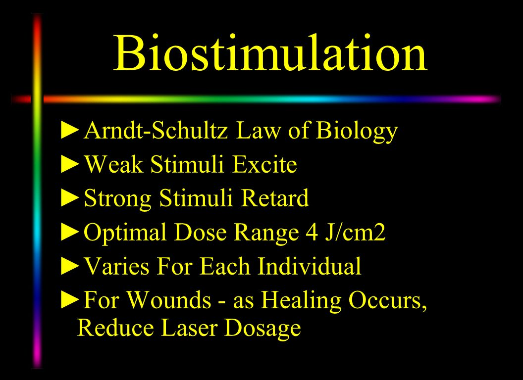 Biostimulation Arndt-Schultz Law of Biology Weak Stimuli Excite