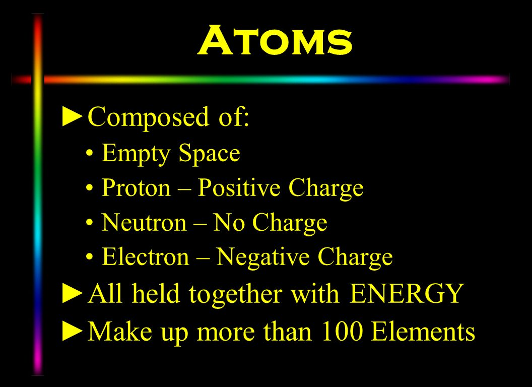 Atoms Composed of: All held together with ENERGY
