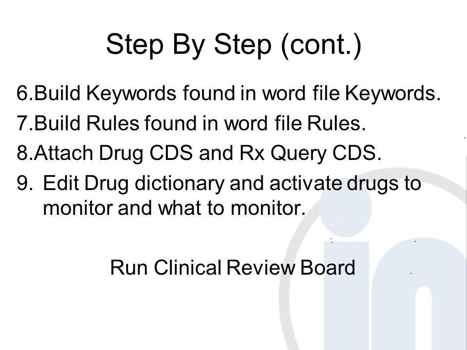 Step By Step (cont.) 6. Build Keywords found in word file Keywords.