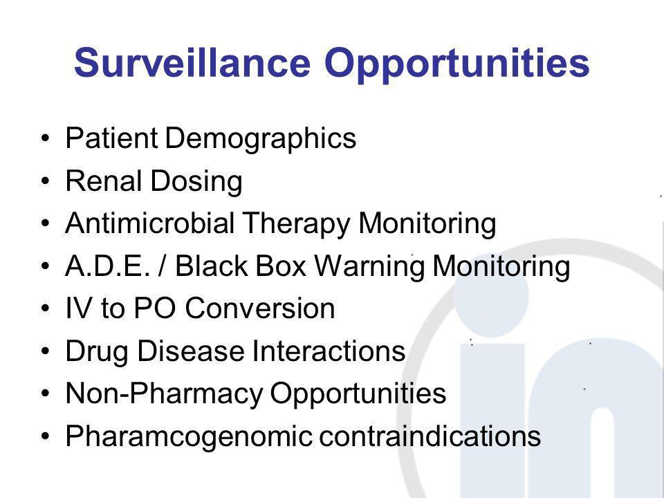 Surveillance Opportunities