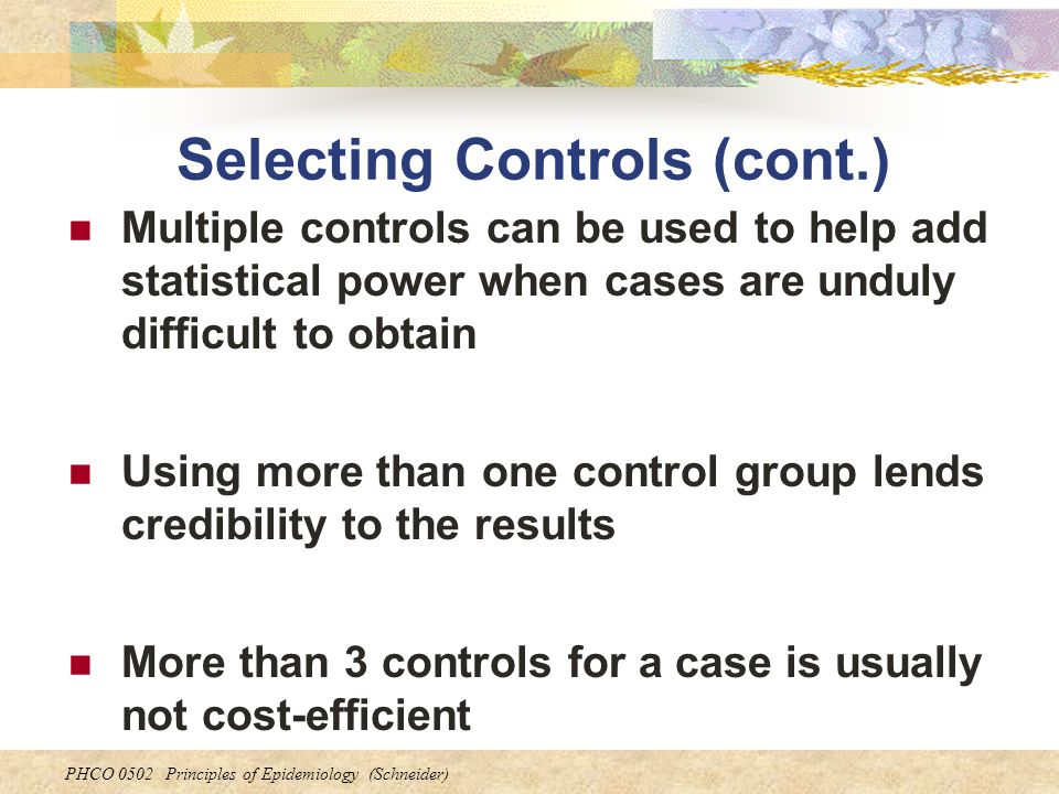 Selecting Controls (cont.)