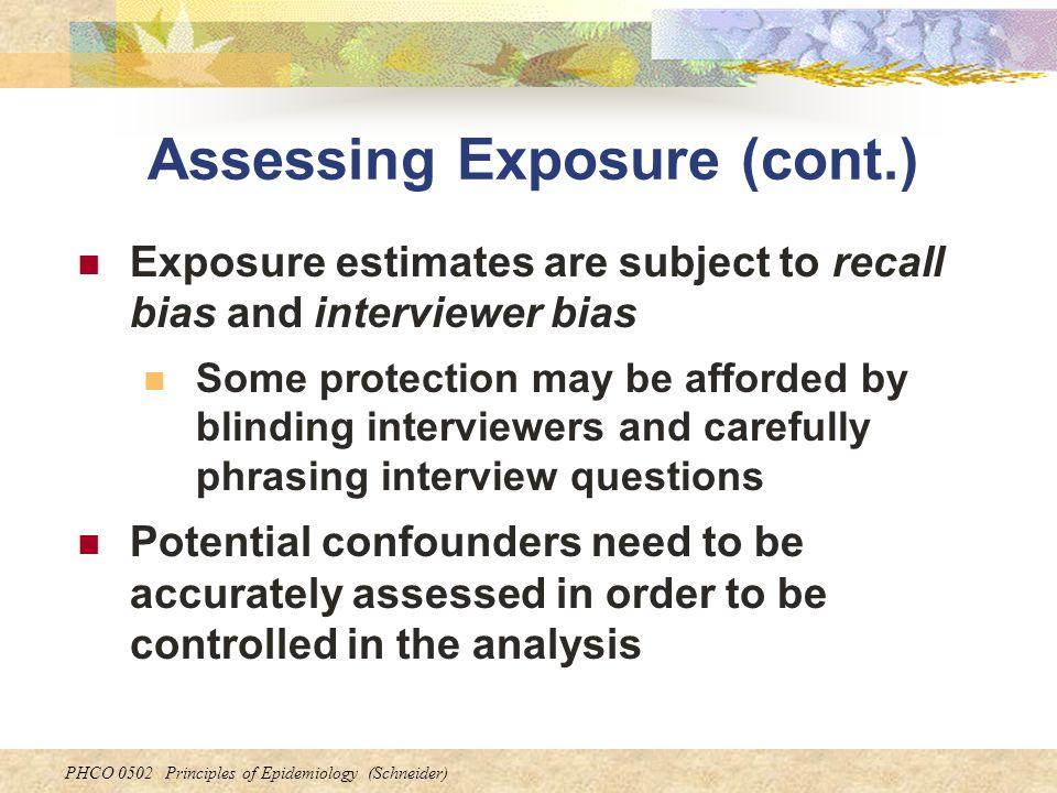 Assessing Exposure (cont.)